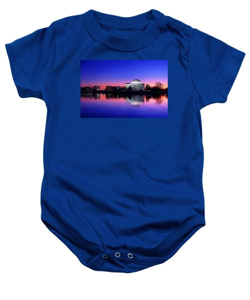 Clear Blue Morning At The Jefferson Memorial Baby Onesie