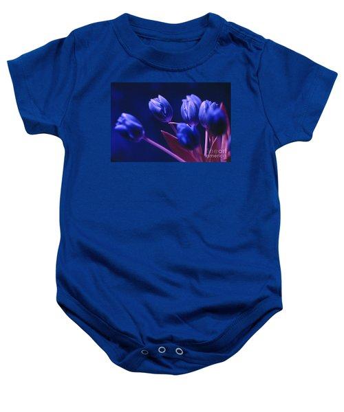 Dark Blue Tulips Baby Onesie