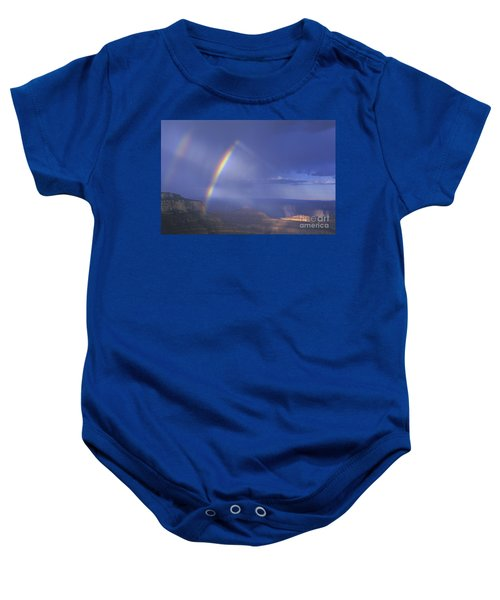 Double Rainbow At Cape Royal Grand Canyon National Park Baby Onesie