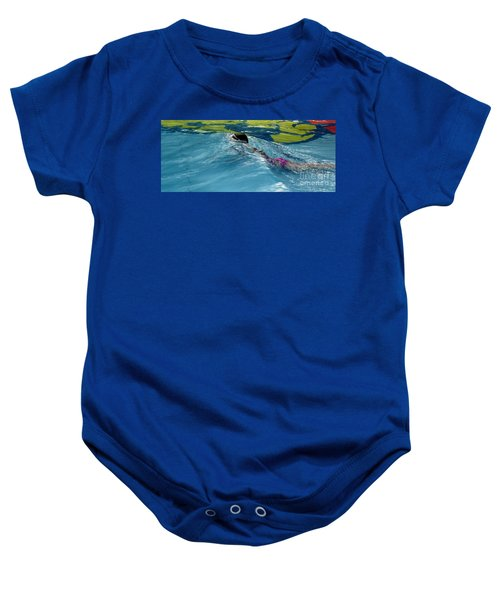 Ducking Under A Wave In A Pool Baby Onesie
