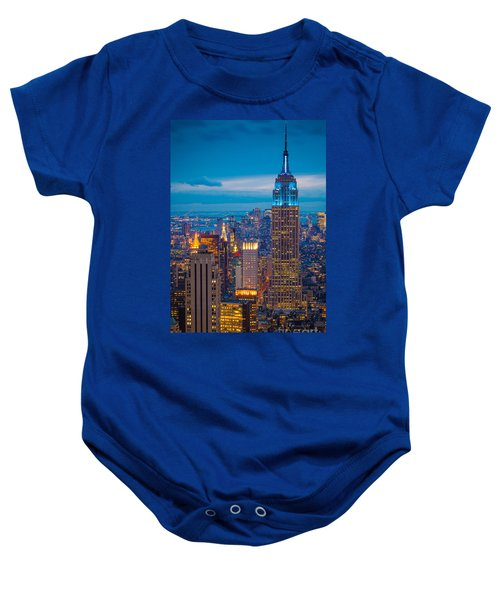 Empire State Blue Night Baby Onesie by Inge Johnsson