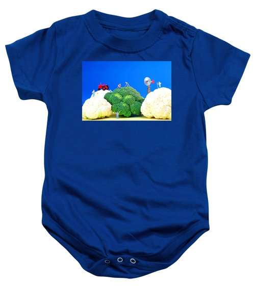 Farming On Broccoli And Cauliflower Baby Onesie by Paul Ge