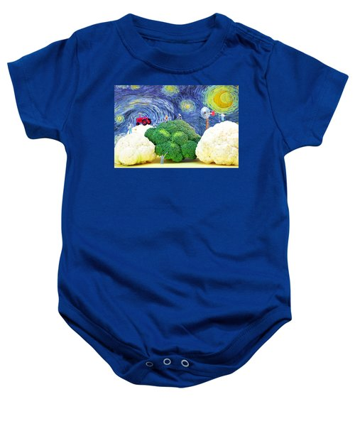 Farming On Broccoli And Cauliflower Under Starry Night Baby Onesie by Paul Ge