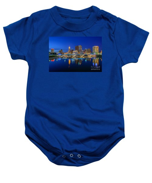 Fx2l530 Columbus Ohio Night Skyline Photo Baby Onesie