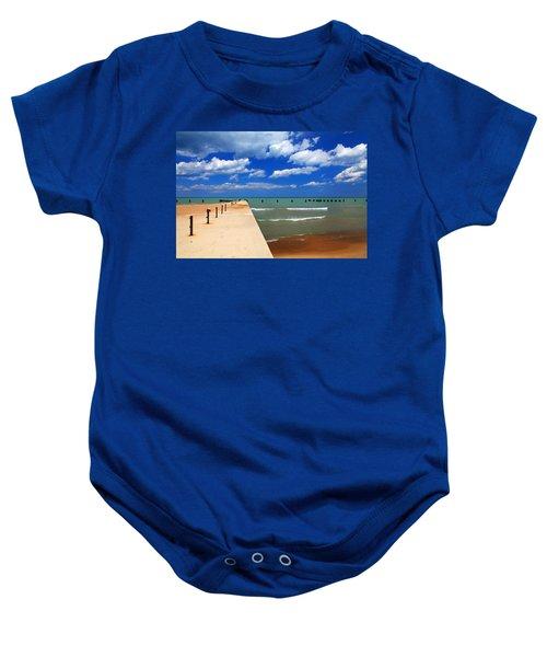 Great Lake Horizon Clouds Baby Onesie