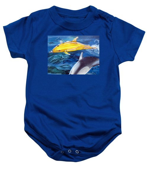 High Tech Dolphins Baby Onesie