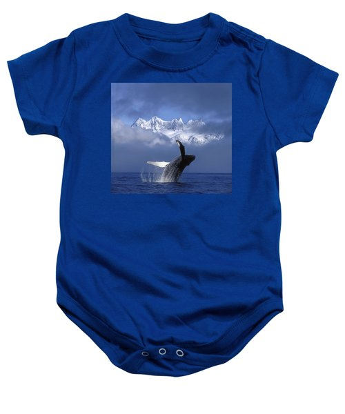 Humpback Whale Breaches In Clearing Fog Baby Onesie