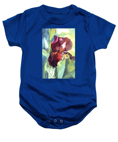 Watercolor Of A Tall Bearded Iris Called Sultan's Palace In Red And Burgundy Baby Onesie