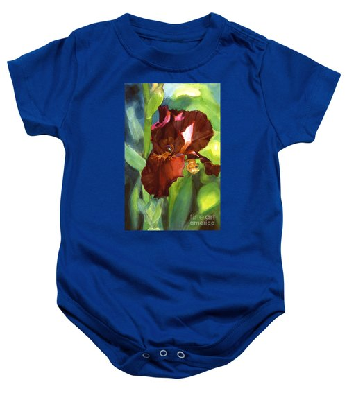 Watercolor Of A Tall Bearded Iris In Sienna Red Baby Onesie