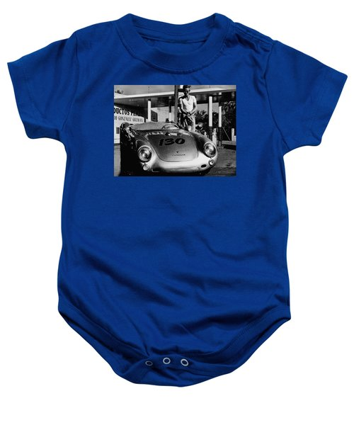 James Dean Filling His Spyder With Gas In Black And White Baby Onesie