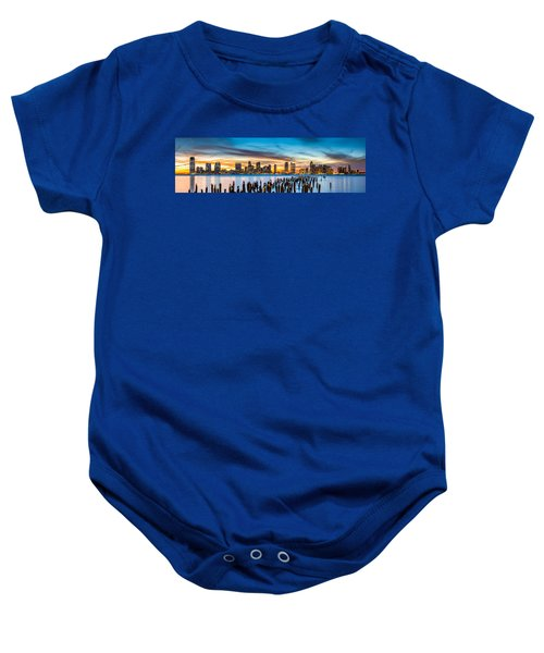 Jersey City Panorama At Sunset Baby Onesie