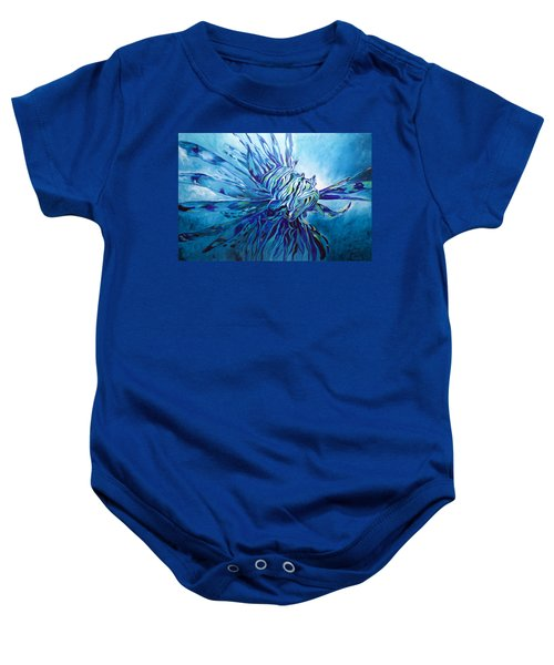 Lionfish Abstract Blue Baby Onesie