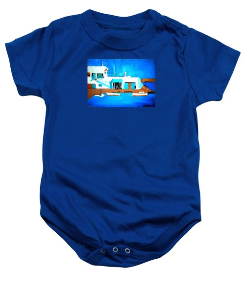 Baby Onesie featuring the painting Paros  Cute Spot On Greek Island by Colette V Hera  Guggenheim
