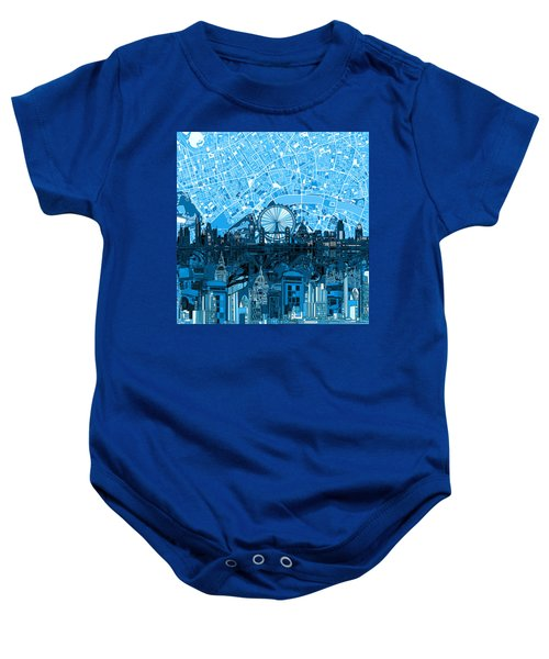London Skyline Abstract Blue Baby Onesie