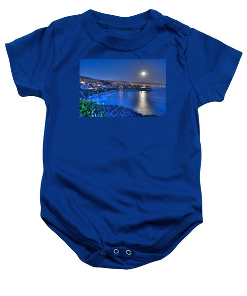 Moon Over Crescent Bay Beach Baby Onesie
