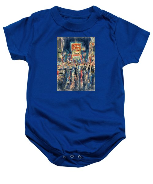 New York Times Square 79 - Watercolor Art Painting Baby Onesie