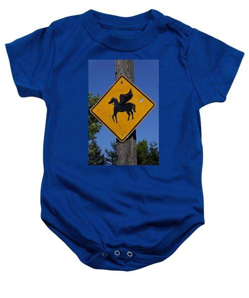 Pegasus Road Sign Baby Onesie