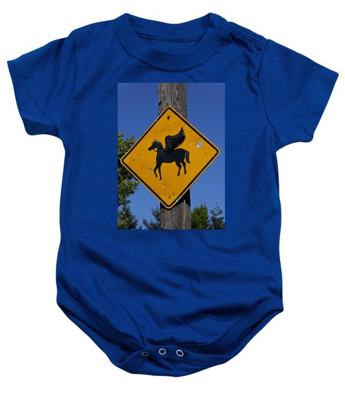 Pegasus Road Sign Baby Onesie