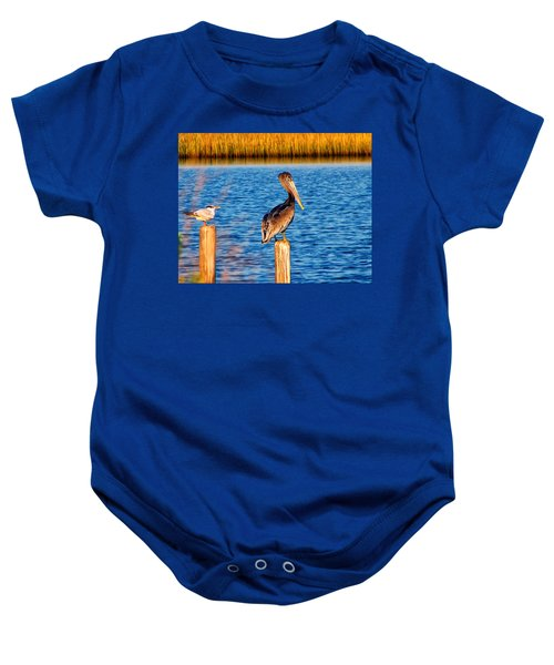 Pelican On A Pole Baby Onesie