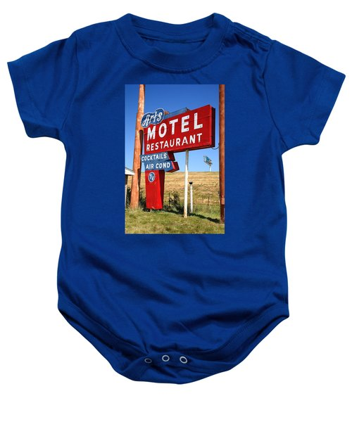 Baby Onesie featuring the photograph Route 66 - Art's Motel by Frank Romeo