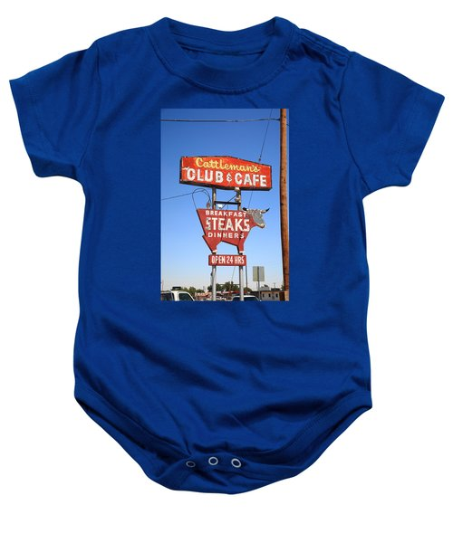 Baby Onesie featuring the photograph Route 66 - Cattleman's Club And Cafe by Frank Romeo