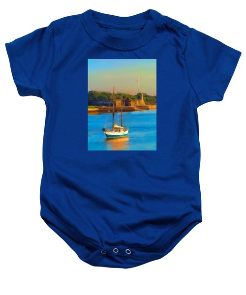 Da147 Sailboat By Daniel Adams Baby Onesie