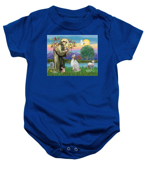 Saint Francis Blesses An English Setter Baby Onesie