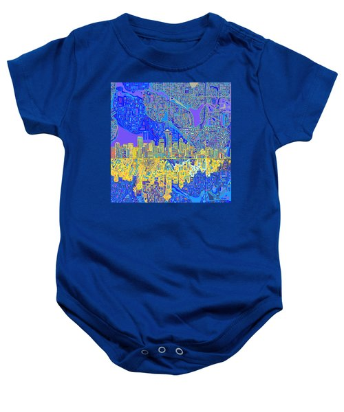 Seattle Skyline Abstract 6 Baby Onesie