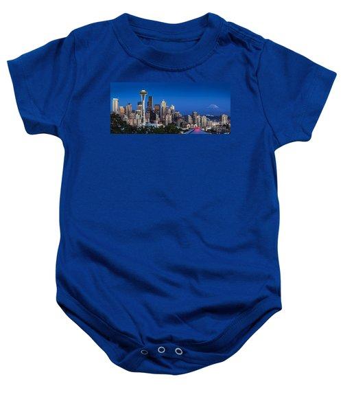 Seattle Skyline Panoramic Baby Onesie