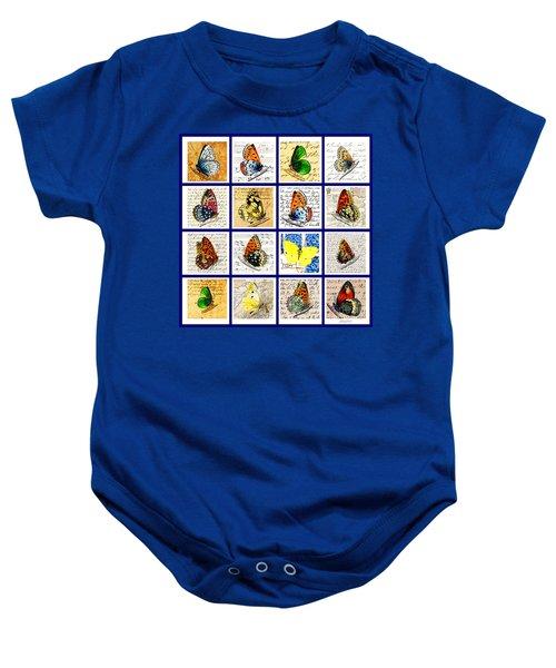 Sixteen Butterflies Baby Onesie