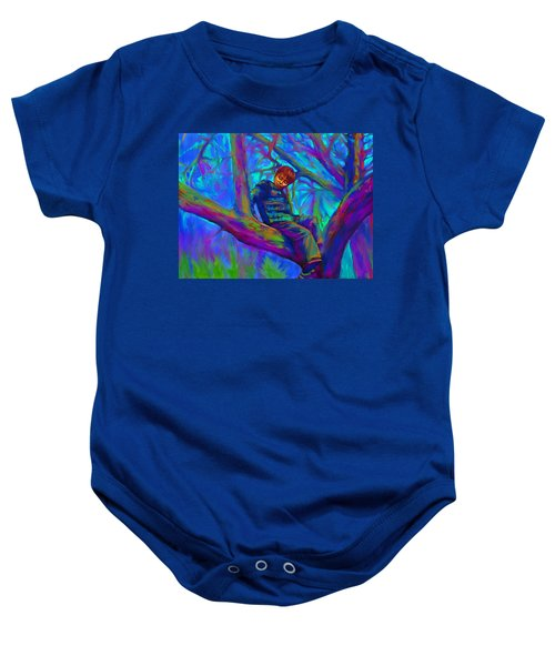 Small Boy In Large Tree Baby Onesie