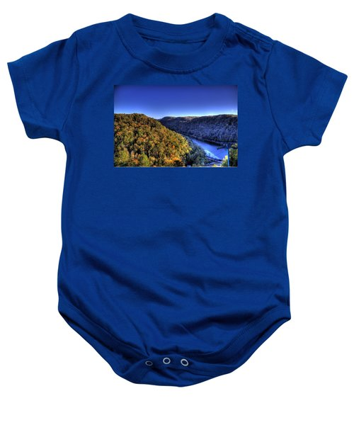 Baby Onesie featuring the photograph Sun Setting On Fall Hills by Jonny D