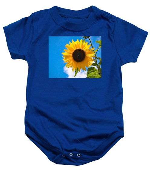 Sunflower And Bee At Work Baby Onesie
