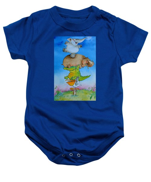 Super Mouse Pen & Ink And Wc On Paper Baby Onesie by Maylee Christie