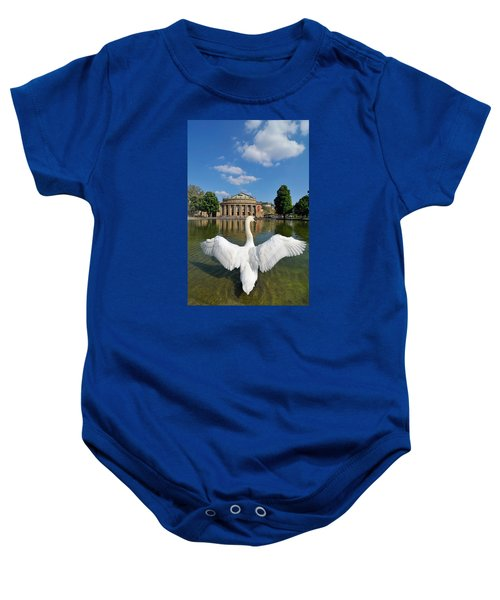 Swan Spreads Wings In Front Of State Theatre Stuttgart Germany Baby Onesie by Matthias Hauser