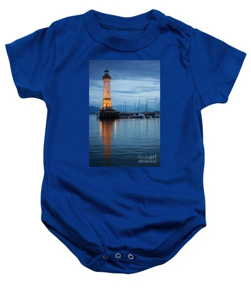The Lighthouse Of Lindau By Night Baby Onesie
