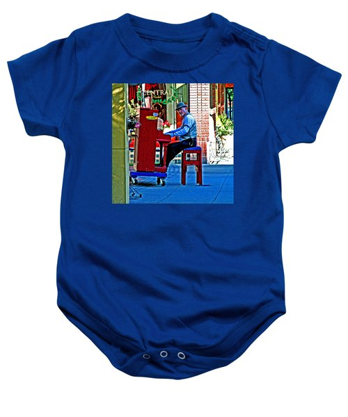 Traveling Piano Player Baby Onesie