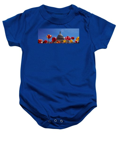 Tulips With A Government Building Baby Onesie by Panoramic Images