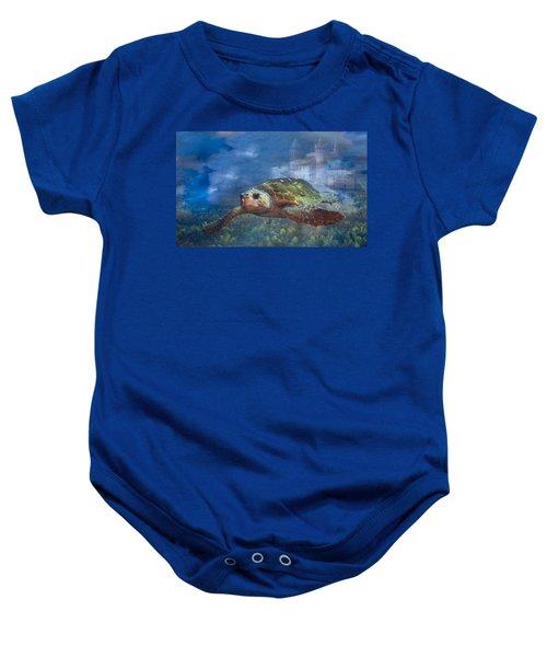 Turtle In Atlantis Baby Onesie