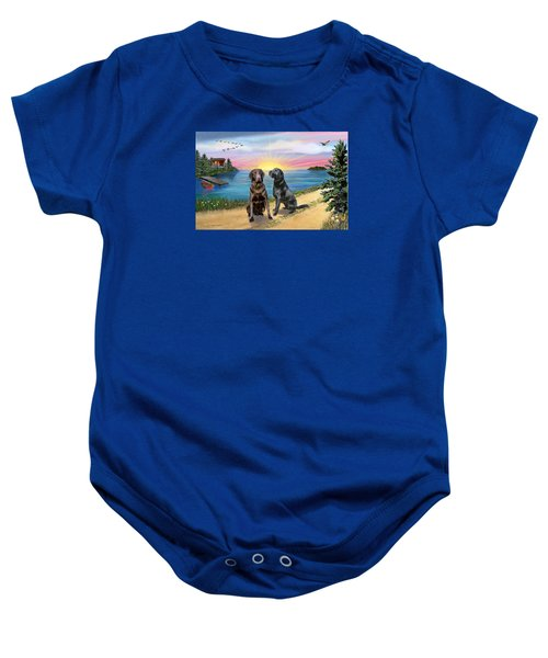 Two Labs At The Lake Baby Onesie