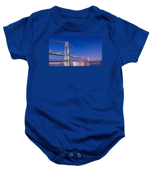 Verrazano Bridge Before Sunrise  Baby Onesie