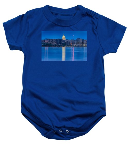 Baby Onesie featuring the photograph Wisconsin Capitol Reflection by Sebastian Musial