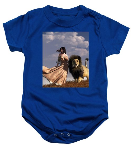 Woman With African Lion Baby Onesie