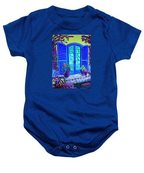 Blue Shutters Baby Onesie