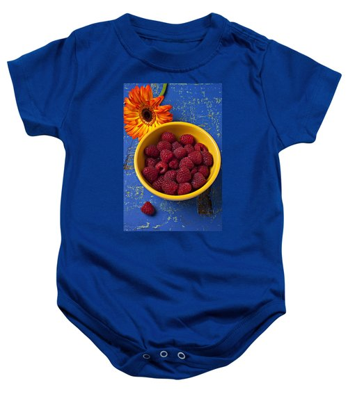 Raspberries In Yellow Bowl Baby Onesie