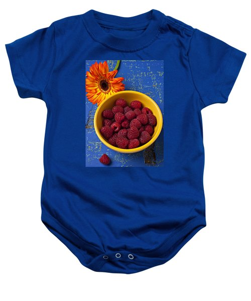 Raspberries In Yellow Bowl Baby Onesie