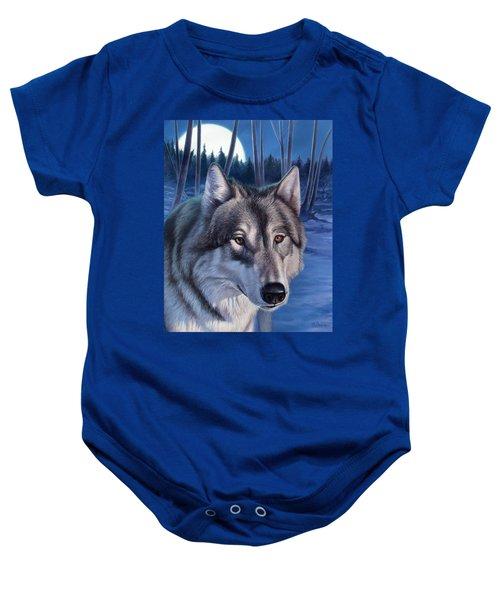 Wolf In Moonlight Baby Onesie