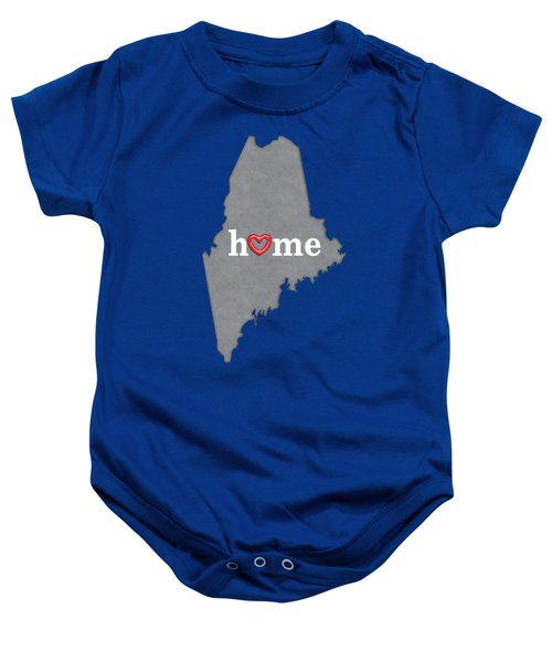 State Map Outline Maine With Heart In Home Baby Onesie