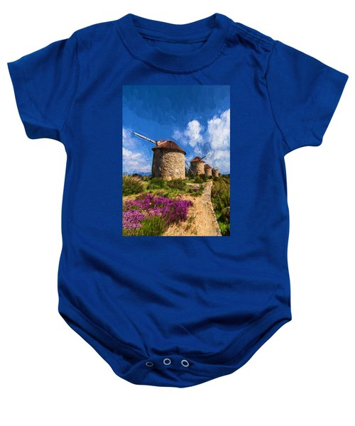 Baby Onesie featuring the digital art  Windmills Of Portugal by Charmaine Zoe