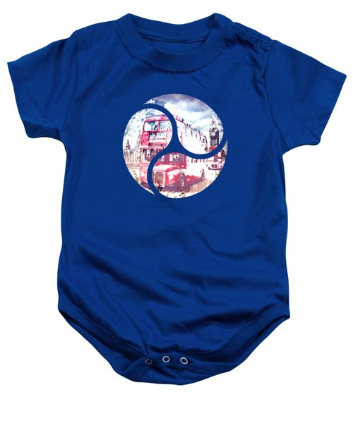Graphic Art London Westminster Bridge Streetscene Baby Onesie by Melanie Viola
